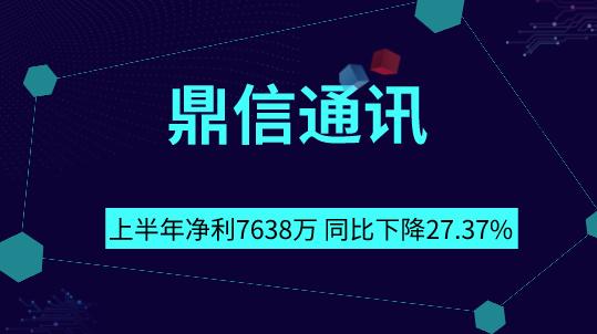 鼎信通訊上半年凈利7638萬 同比下降27.37%