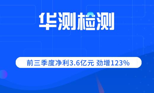 华测检测前三季度净利3.6亿元 劲增123%